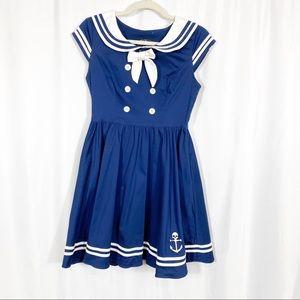 Hell Bunny Vixen Sailor Skull Anchor Retro Dress